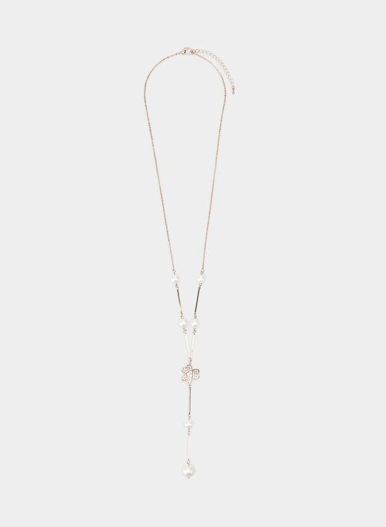 Collier en Y à détails perles et fleur, Or, hi-res