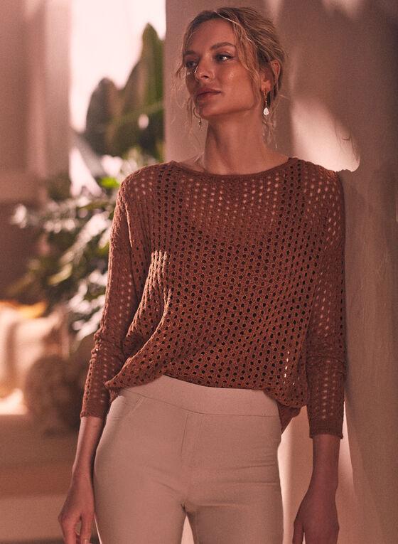 Open Weave Knit Sweater, Brown