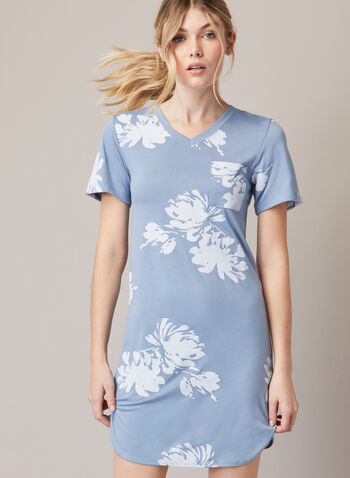 Floral Print Nightshirt , Blue,  fall winter 2020, nightshirt, v-neck, pocket, short sleeve