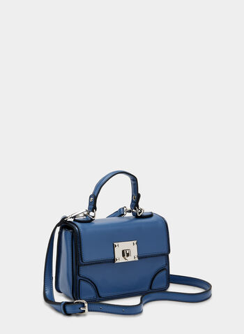 Metallic Detail Satchel, Blue, hi-res,  stitching, metallic, zipper, removable strap, fall 2019, winter 2019