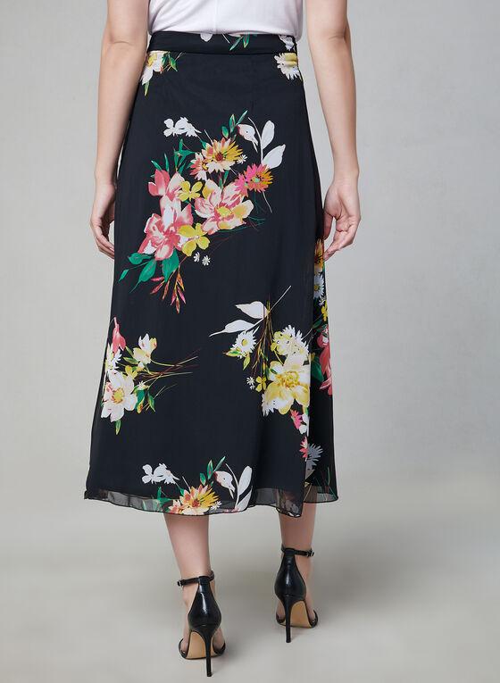 Jupe longue en mousseline fleurie, Noir, hi-res