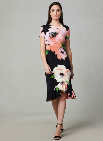 Frank Lyman - Floral Print High Low Dress, Black, hi-res