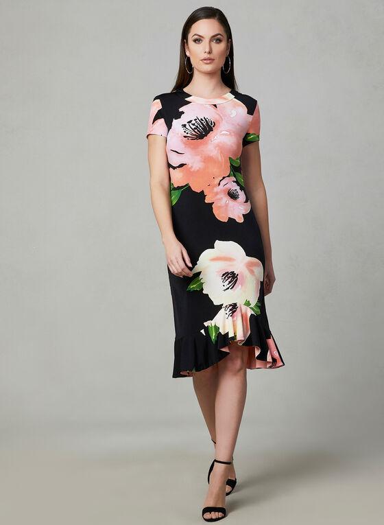Frank Lyman - Floral Print High Low Dress, Black, hi-res