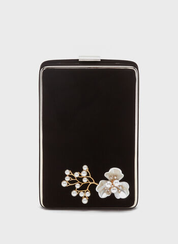 Pearl Flower Detail Box Clutch , Black, hi-res