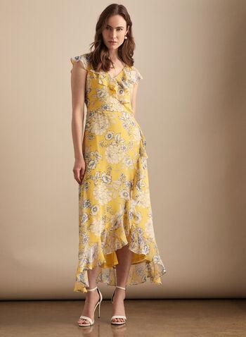 Maggy London - Robe fleurie à détails volantés, Rouge,  robe de jour, fleurs, mousseline, volants, mancherons, ourlet tulipe, printemps été 2020