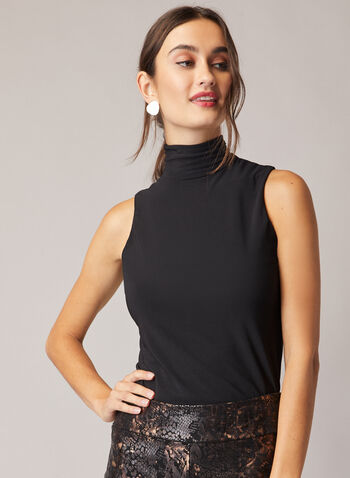 Sleeveless Turtleneck Top, Black,  Sleeveless, jersey, turtleneck, fitted, made in Canada, Fall 2020