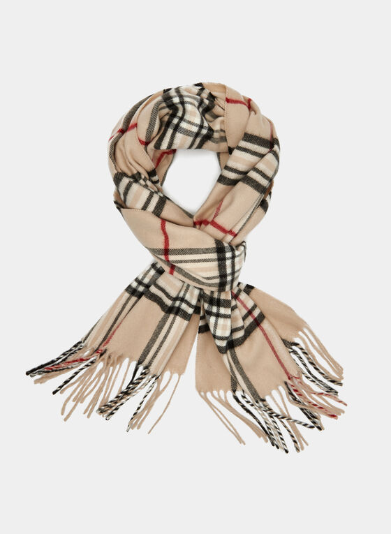 Plaid Print Fringed Scarf, Off White, hi-res