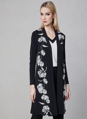 Haut ouvert fleuri en jersey, Noir, hi-res,  ouvert, fleur, cardigan, jersey, canada, printemps 2019