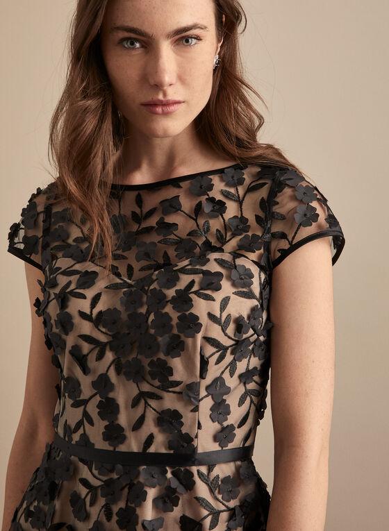 BA Nites - Floral Appliqué Mesh Dress, Black