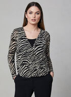 Animal Print Layered Top, White, hi-res