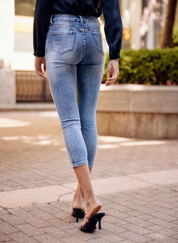 Alison Sheri - Embellished Denim Capris, Blue,  spring summer 2021, jeans, denim, pants, capris, slim leg, mid rise, faded effect, ripped, patches, crystal, details, embellishments, pockets, stretch, belt loops, zipper, button