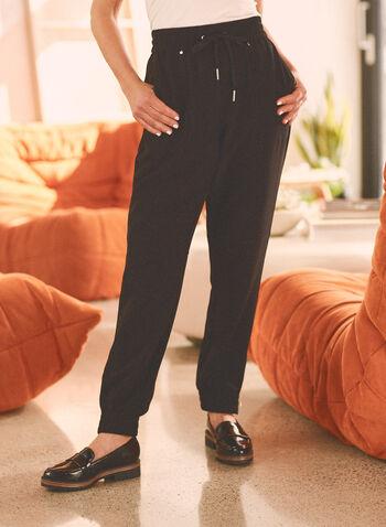 Pantalon pull-on style jogger  , Noir,  printemps été 2021, bas, pantalon, jogging, pull-on, intérieur, confortable, jambe étroite, taille élastiquée, ourlet élastiqué, zip contrastant, liens à nouer, poches