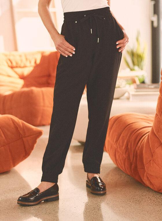 Zipper Detail Jogger Pants, Black