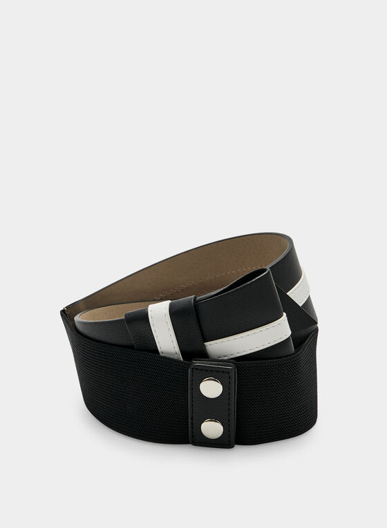 Two Tone Elastic Belt, Black, hi-res