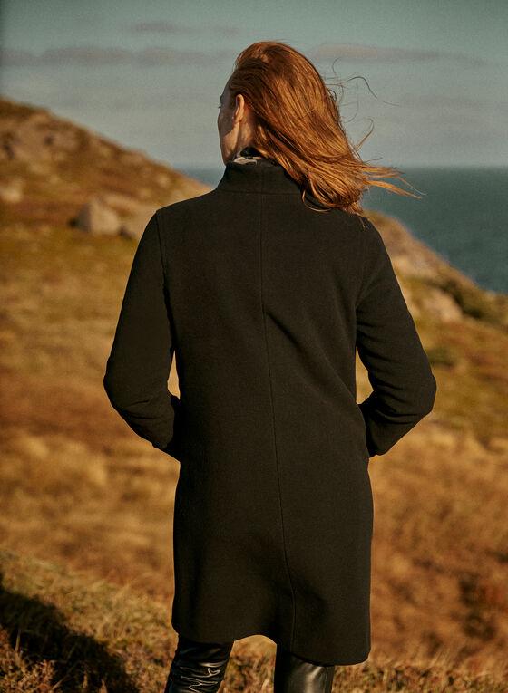 Mallia - Manteau boutonné en laine mélangée, Noir, hi-res