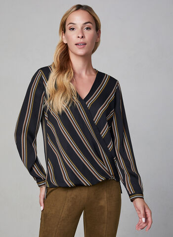 Long Sleeve Wrap Blouse, Black,  Stripe print, surplice neckline, wrap front, long sleeve, blouse