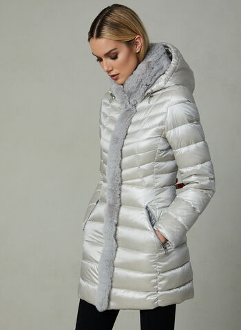 Karl Lagerfeld - Faux Fur Trim Quilted Coat , Silver, hi-res,