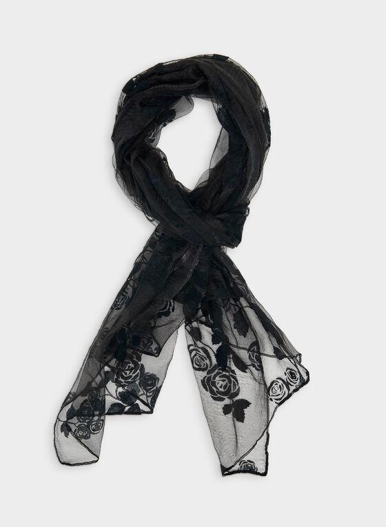 Floral Print Sheer Scarf, Blue, hi-res