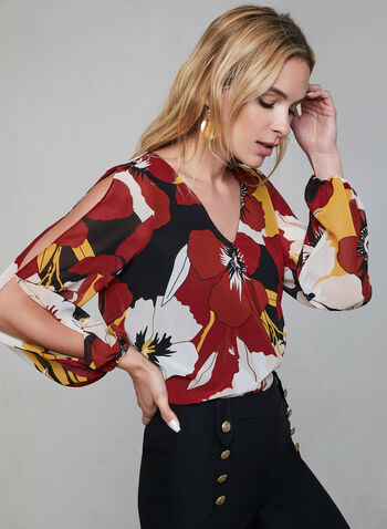 Floral Print Chiffon Blouse, Brown, hi-res,  blouse, long sleeves, V-neck, floral print, chiffon, fall 2019, winter 2019