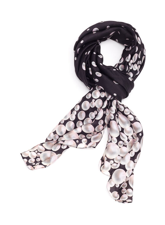 Foulard motif perles, Noir, hi-res