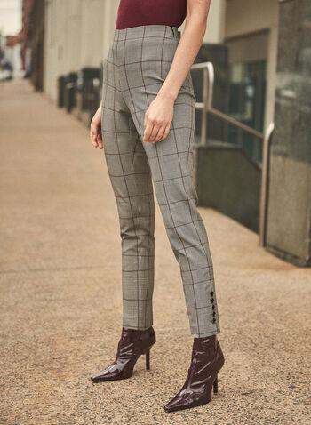 Pantalon étroit motif tartan, Noir,  pantalon, étroit, tartan, pull-on, automne hiver 2020