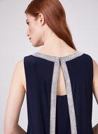 Frank Lyman - Robe avec bordures strass fendue au dos, Bleu, hi-res