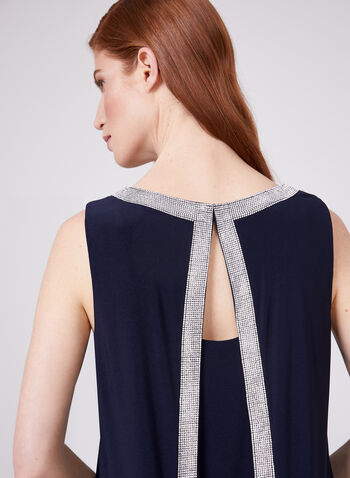 Frank Lyman – Rhinestone Trim Back Capelet Dress, Blue, hi-res