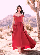 BA Nites - Satin Sweetheart Neck Gown, Red, hi-res