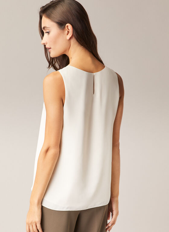 Crew Neck Sleeveless Blouse, Off White