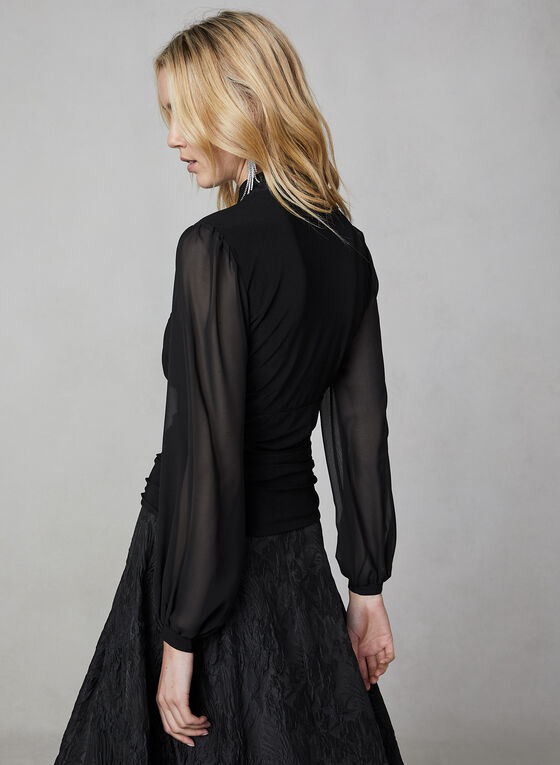 Balloon Sleeve Top, Black