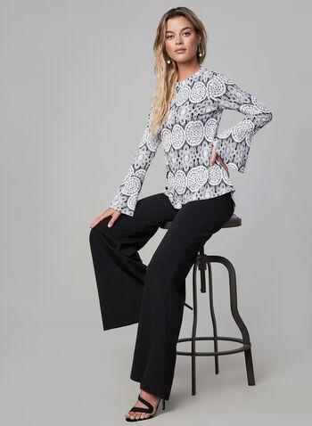 Joseph Ribkoff - Printed Bell Sleeve Top, Black,  fall winter 2019, jersey fabric, bell sleeves, long sleeves