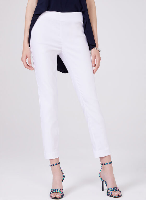 Zip Detail Ankle Pants, White