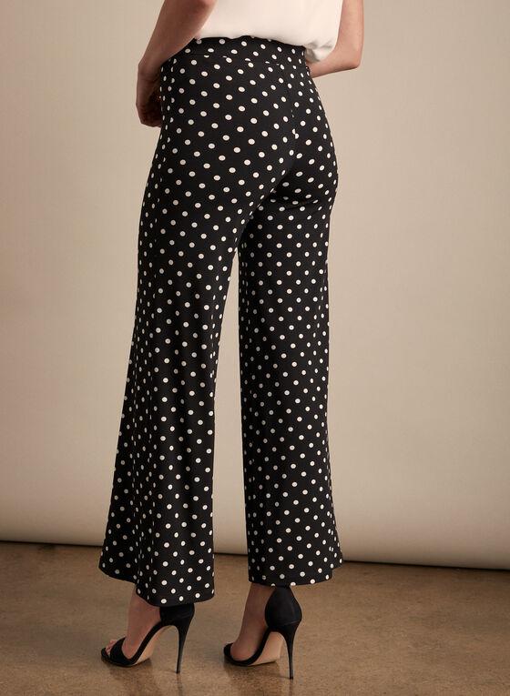 Pantalon palazzo à motif pois, Noir