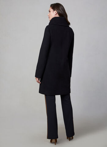 Mallia - Collared Cashmere Wool Coat, Black,  canada, mallia, wool coat, coat, cashmere coat, wool cashmere blend, collared coat, buttoned coat, long coat, fall 2019, winter 2019