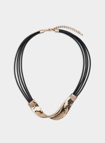Hammered Metal Necklace, Gold, hi-res,  hammered metal, adjustable, cord, fall 2019, winter 2019