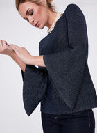 ¾ Bell Sleeve Glitter Knit Sweater, Blue, hi-res