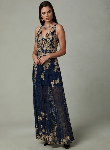 BA Nites - Floral Lace Dress, Blue, hi-res