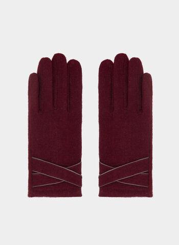 Crisscross Detail Wool Gloves, Red, hi-res