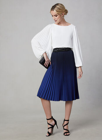 Pleated Ombré Skirt, Black, hi-res,  fall winter 2019, crepe, pleated, two-tone