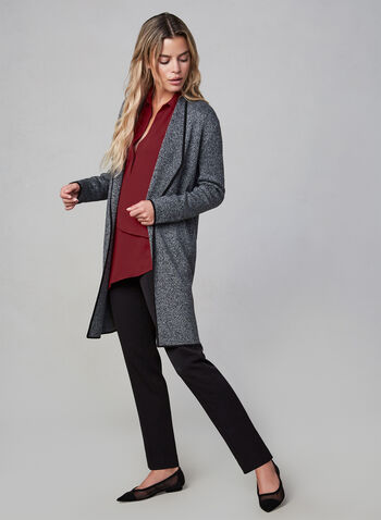 Heather Knit Cardigan, Grey,  long sweater, open-front cardigan, open sweater