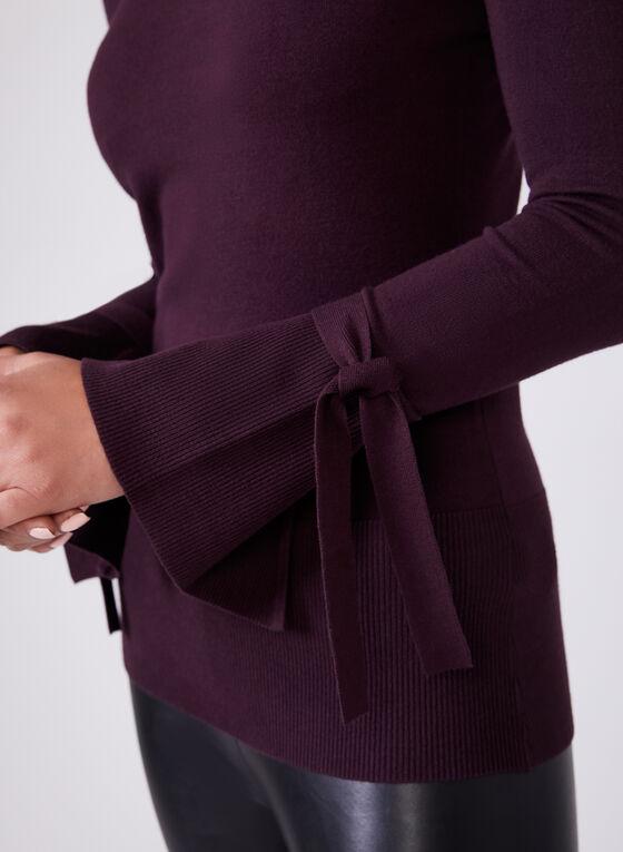 Pull en tricot fin à manches longues et détail lien, Violet, hi-res