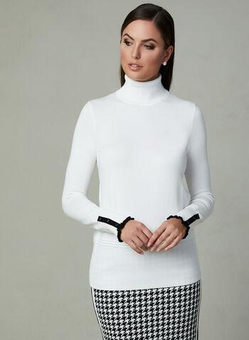 Contrast Trim Knit Turtleneck, Off White, hi-res