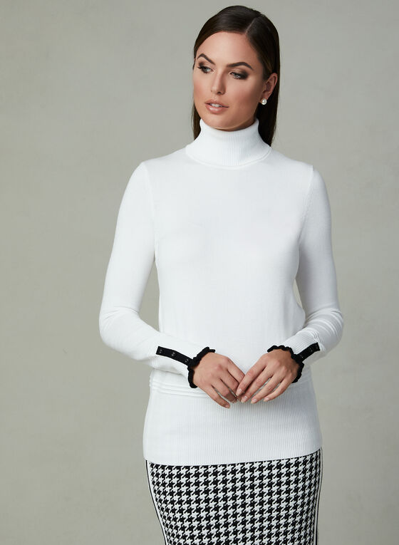 Contrast Trim Knit Turtleneck, Off White, hi-res