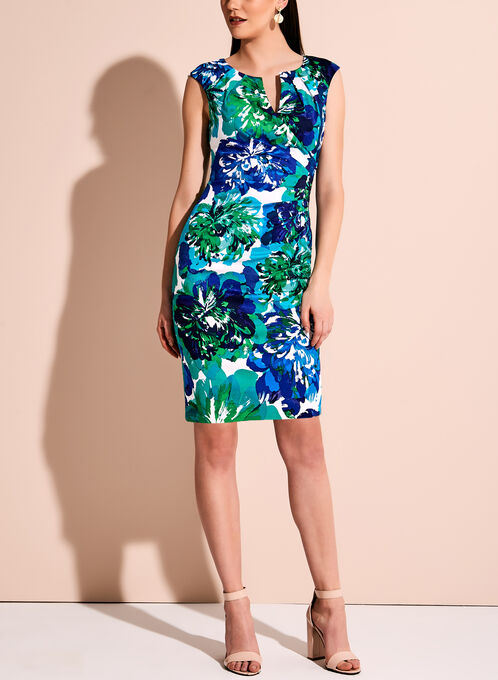 Adrianna Papell - Floral Print Sunburst Pleated Dress, Blue, hi-res