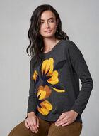 Spanner - Floral Detail Cotton Sweater, Grey, hi-res