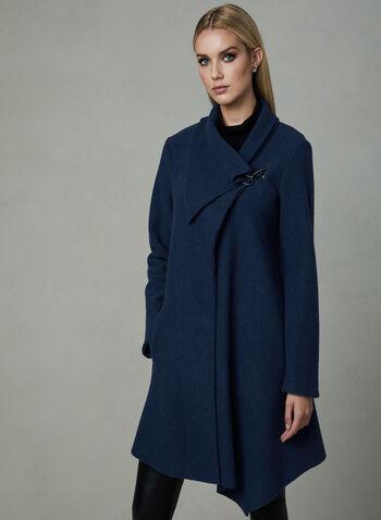 Toggle Wool Coat, Blue, hi-res