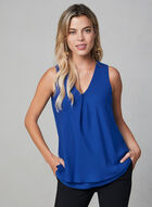 Sleeveless Chiffon Top, Blue, hi-res