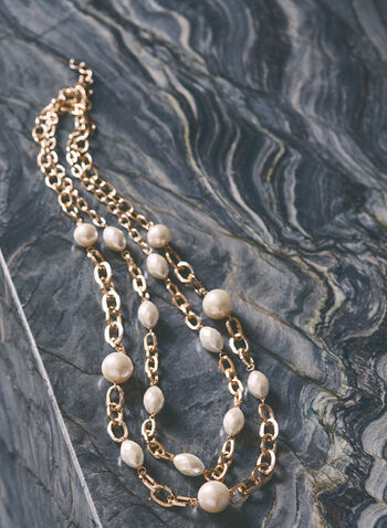 Pearl & Chain Necklace, Off White,  jewellery, necklace, chain, pearl, metallic, double, spring summer 2021