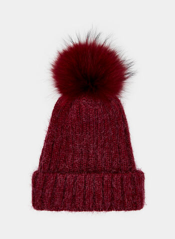 Fur Pompom Pulled Yarn Tuque, Red, hi-res