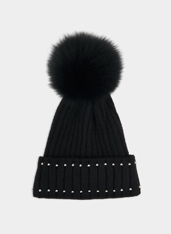 Beaded Tuque, Black,  fall winter 2019, tuque, beaded fox fur pompom
